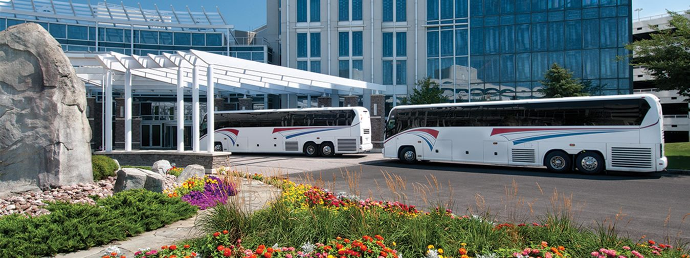 Two tour buses outside of Turning Stone Resort Casino